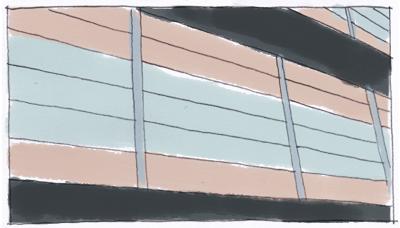 カラー鋼板落とし込み自走式立体駐車場