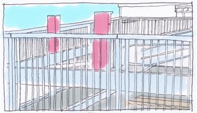 自走式立体駐車場の外壁格子手摺