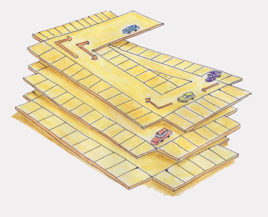 自走式立体駐車場連続斜床式
